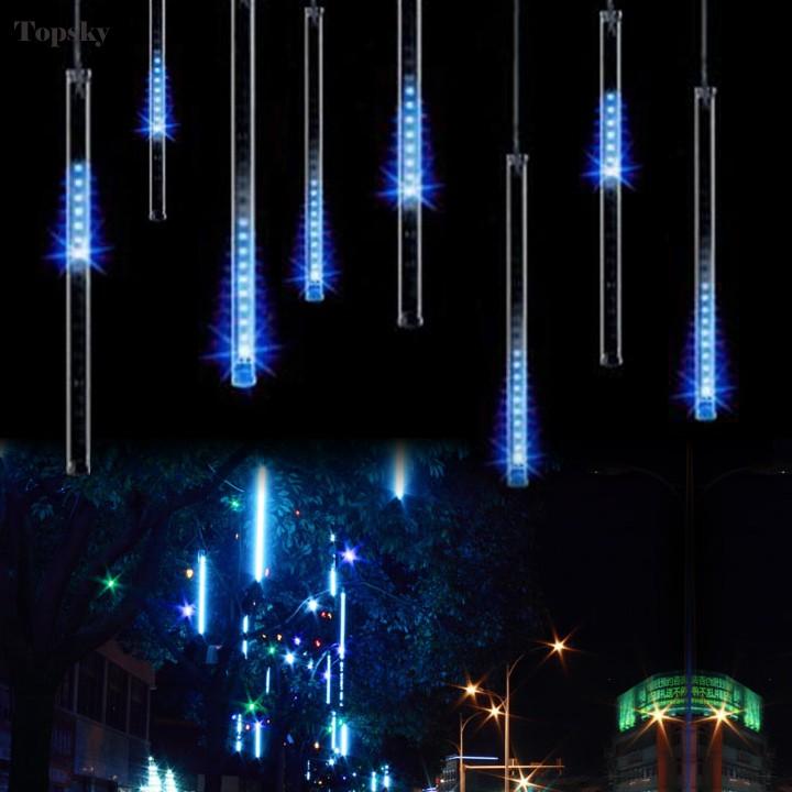 30CM 100-240V/US Plug Meteor Shower Rain Tubes LBlue Ed Cherry Blossom Tree Light For Christmas Wedding Garden Decoration ZYQ(China (Mainland))