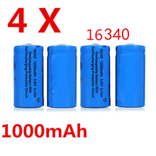 4pcs/lot 1000mAh 3.7V 16340 CR123A Li-ion Rechargeable Battery for mobile power/Cameras/camcorders/laptops/light torch