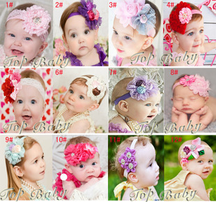 NEW NEW NEW Free Shipping10pcs/lot Ribbon Head Band/ Baby Flower Hair Accessories/Baby Flower Head Band/Fashion Flower Hair Band