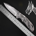 Perfect Damascus Folding Knife Tactical Survival Knives Hunting Pocket Knife Marked Dragon s Claw