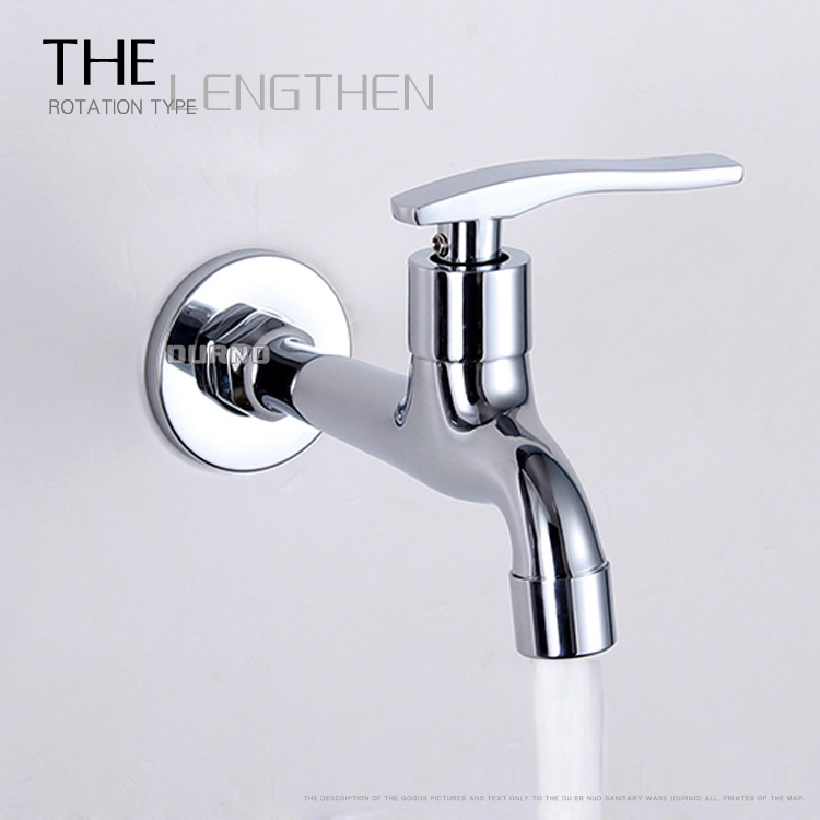 Wall Mounted Full Copper lengthen thickening washing machine bibcock single cold mop pool faucet water brass bibcock tap(China (Mainland))