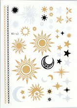 CT126 sun and moon large temporary metallic golden flash tattoo tattoos sticker can used as necklace(China (Mainland))