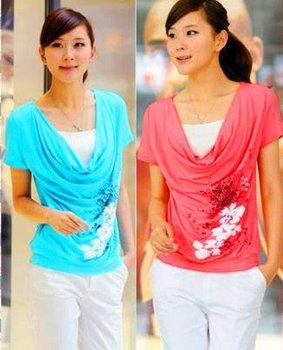 new fashion summer 2014 cotton bule red short sleeve plus size porcelain print casual t-shirt women a t shirt shirts