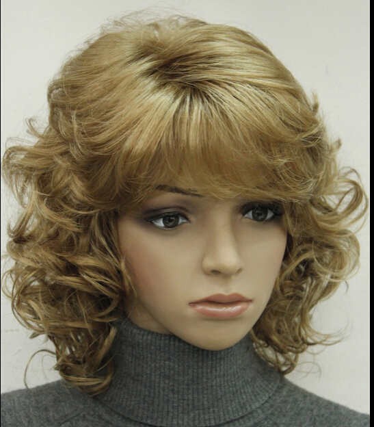 zhanglei207++Light Strawberry Blonde Short Curly Women ladies Synthetic Fluffy Wig LTLD209(China (Mainland))