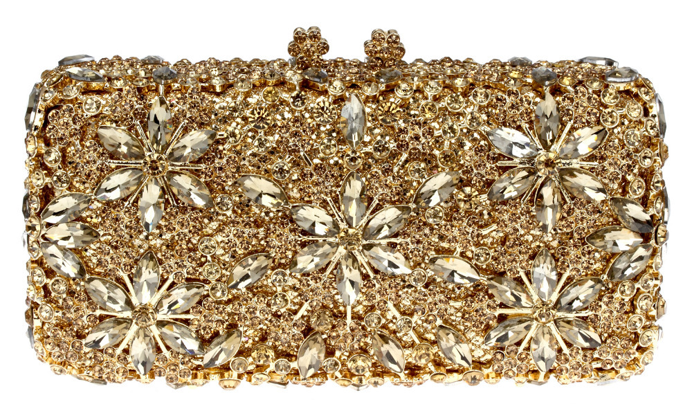 Free Shipping 2016 New Custom Women Rhinestone Clutch Gold Chain Crystal Evening Bag Party Wedding Handbag Purse(China (Mainland))