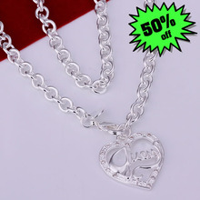 S-N175 wholesale,925 silver peach heart necklace,trendy chain,fashion jewelry, Nickle free,antiallergic,factory price