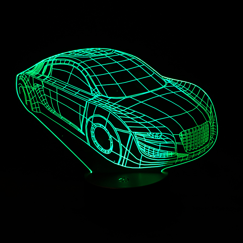 3D Deco Light Car Shape USB Charge Touch Switch Lamp Colorful Kids Night Light(China (Mainland))