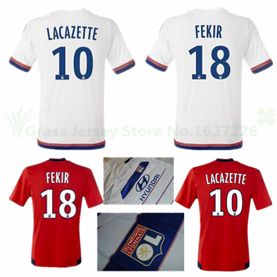 Lyon jersey 2015 2016 home white France Olympique Lyonnais 15 16 17 Lacazette FERRI TOLISSO FEKIR MALBRANQU away Soccer shirts(China (Mainland))