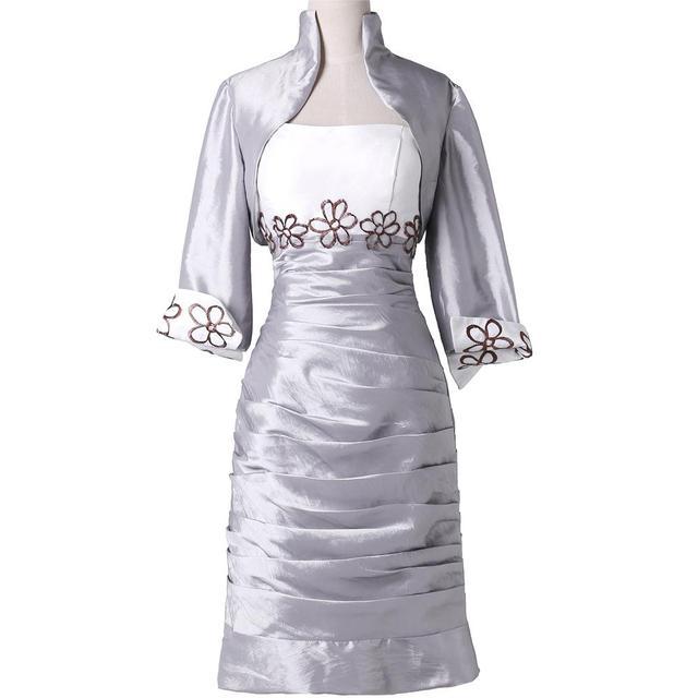 Серебряная мать невесты грейс карин 2016 мать невесты платья с курткой Большой размер ...