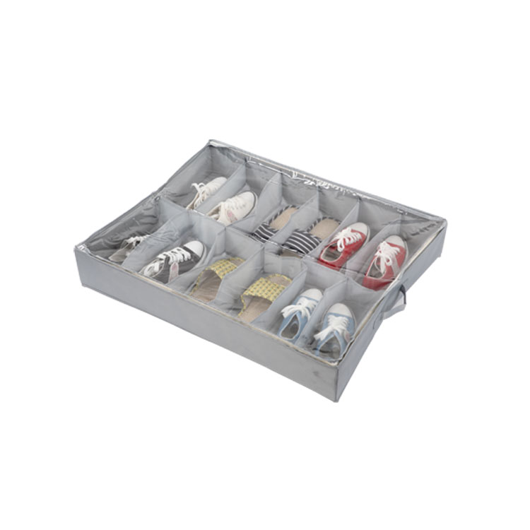 12 Grids Underbed Folding Transparent Shoe Organizer Box,Shoes Away PVC Space Saver,12 Pairs Shoes Storage Bin Under The Bed(China (Mainland))
