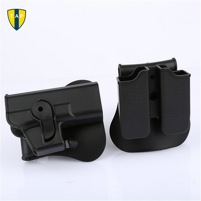 Right Hand Rotary Roto Retention Pistol Gun Holster Glock 17 Paddle & Double Magazine Pouch Ammo Tactical Case Clip For Glock 17(China (Mainland))