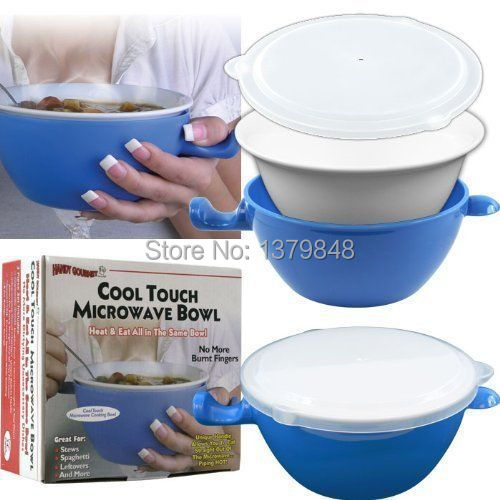Cool Touch Microwave Bowl Handle Cooking Safe Ceramic Holder Vented Lid 24oz(China (Mainland))