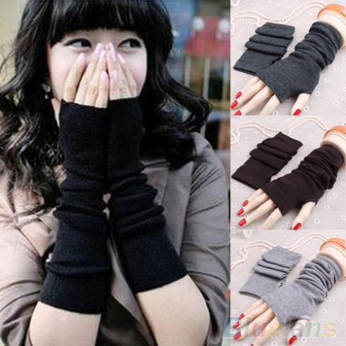 Women Fashion Knitted Arm Fingerless Long Mitten Wrist Warm Winter Gloves 1PXW 49M5