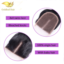 6A Grade Virgin Malaysian lace Closure Straight Human Hair closure 4x4 Middle free three Part Lace