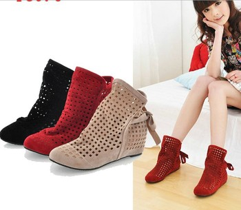 women's cut-outs Boots Spring /Summer short Boots Inside High -heeled Shoes large size 35-43 casual Sandals shoes women C222