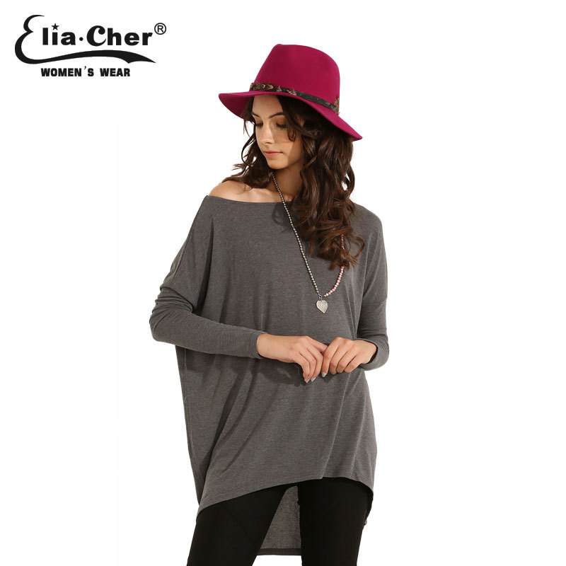 Long Batwing Sleeve Women Blouses Tops Fashion 2015 Causal Plus Size Female Clothing Chic Active Street-style Full Ladies Shirts(China (Mainland))