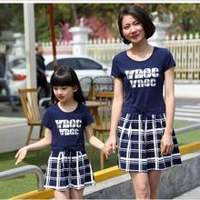 mommy and me clothes family look girl and mother sundress women blue plaid dress short sleeve round collar summer girls dresses