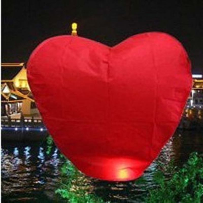10 Pack Red Heart Sky Lanterns Chinese Paper Sky Candle Fire Balloons for Wedding Anniversary Party