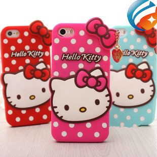 2015 Newest 3D Cute Lovly Silicone Hello Kitty Polka Dots Case Cover For iphone 5 5s 4s 4 iphone5(China (Mainland))