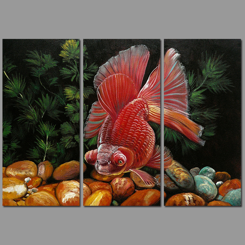 3pcs/set Modern Fashion Animal Fish decoration red pet goldfish wall art picture poster Canvas Painting for living room unframed(China (Mainland))