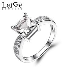 Leige Ювелирные Изделия Натуральный Белый Топаз Кольца Стерлингового Серебра 925 Принцесса Cut Gemstone Обручальные Кольца для Женщин(China (Mainland))