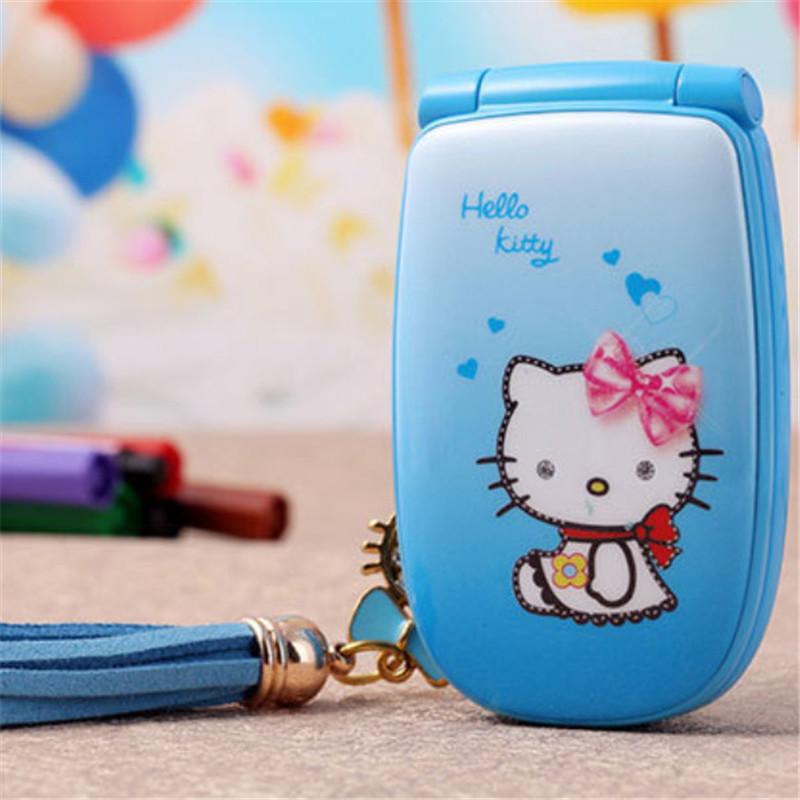 "2015 1.5"" W88 Flip French Spanish unlocked small women kids girls lady cute hello kitty cartoon mini cell mobile phone cellphone(China (Mainland))"