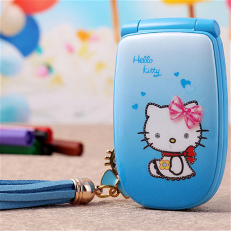 "2015 1.5"" W88 Flip French Spanish unlocked small women kids girls lady cute hello kitty cartoon mini cell mobile phone cellphone(China (Mainland))"