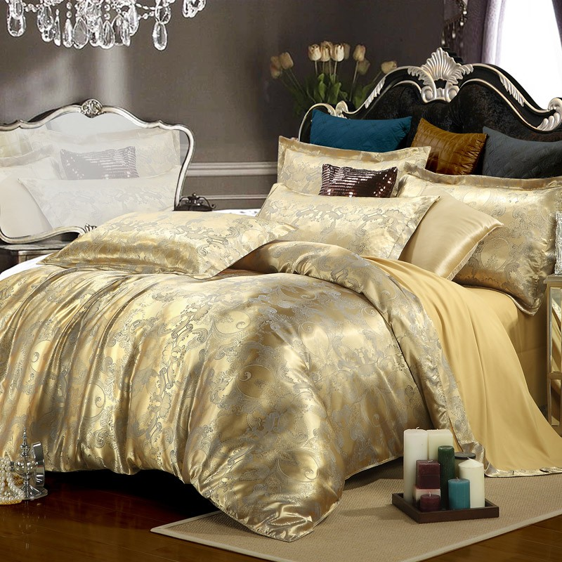 Silk Tencel satin Jacquard bed linen bedding set 4pcs Queen king size bedclothes duvet cover set noble bed set High Quality(China (Mainland))