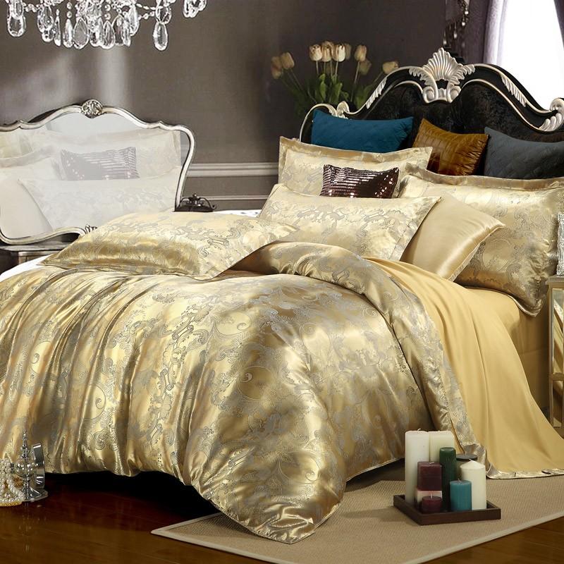 Silk Tencel satin Jacquard bed linen bedding set 4pcs Queen king size bedclothes duvet cover set noble bed set High Quality(China (Mainland))
