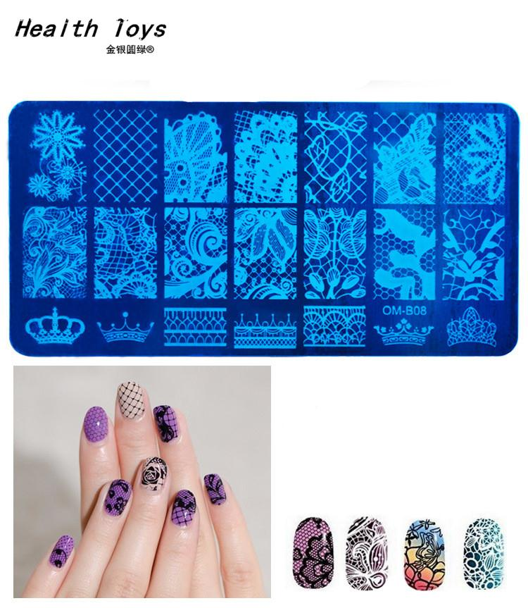 20 Patterns Stainless Steel Nail Art Stamping Plates Nail Seal Manicure Printer Tool Templates Nail Stamp Stencils(China (Mainland))
