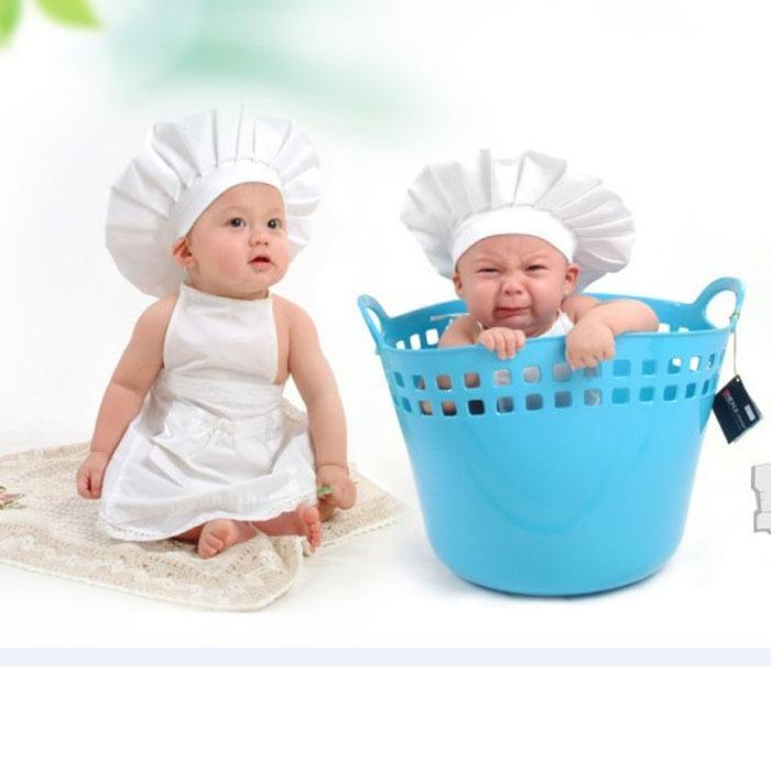 Sanwony new arrivel Cute Baby White Cook Costume Photos Photography Prop Newborn Hat Apron Wholesale(China (Mainland))