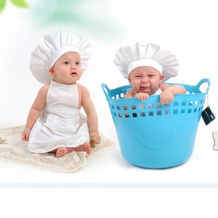 Sanwony new arrivel Cute Baby White Cook Costume Photos Photography Prop Newborn Hat Apron Wholesale(China (Mainland))