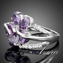 AZORA Platinum Plated Stellux Austrian Crystal Purple Flower Design Cubic Zirconia Ring TR0010