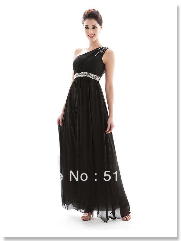 Fashion One Shoulder Handmade Diamond Beaded Slim High Waist Evening Dress Full Long Formal - FHTEX Store store