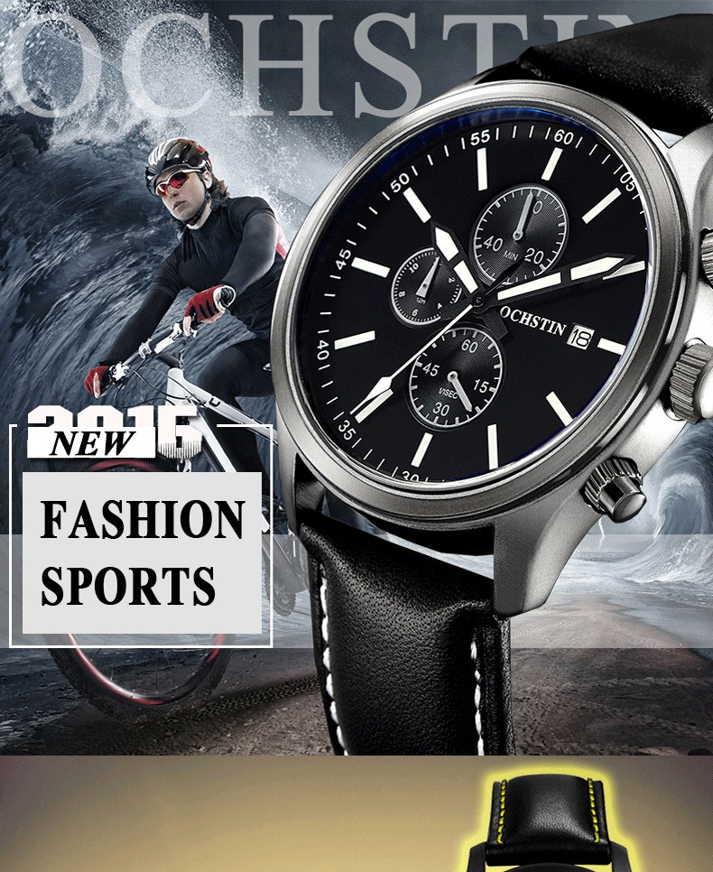 2016 New Fashion Men Watches Leather Men's Quartz Hour Clock Analog OCHSTIN Watch Men Sports Military Wrist Watches Male