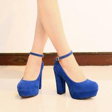 Free shipping women s pumps with ankle lace sexy waterproof matte rough round wild wedding shoes