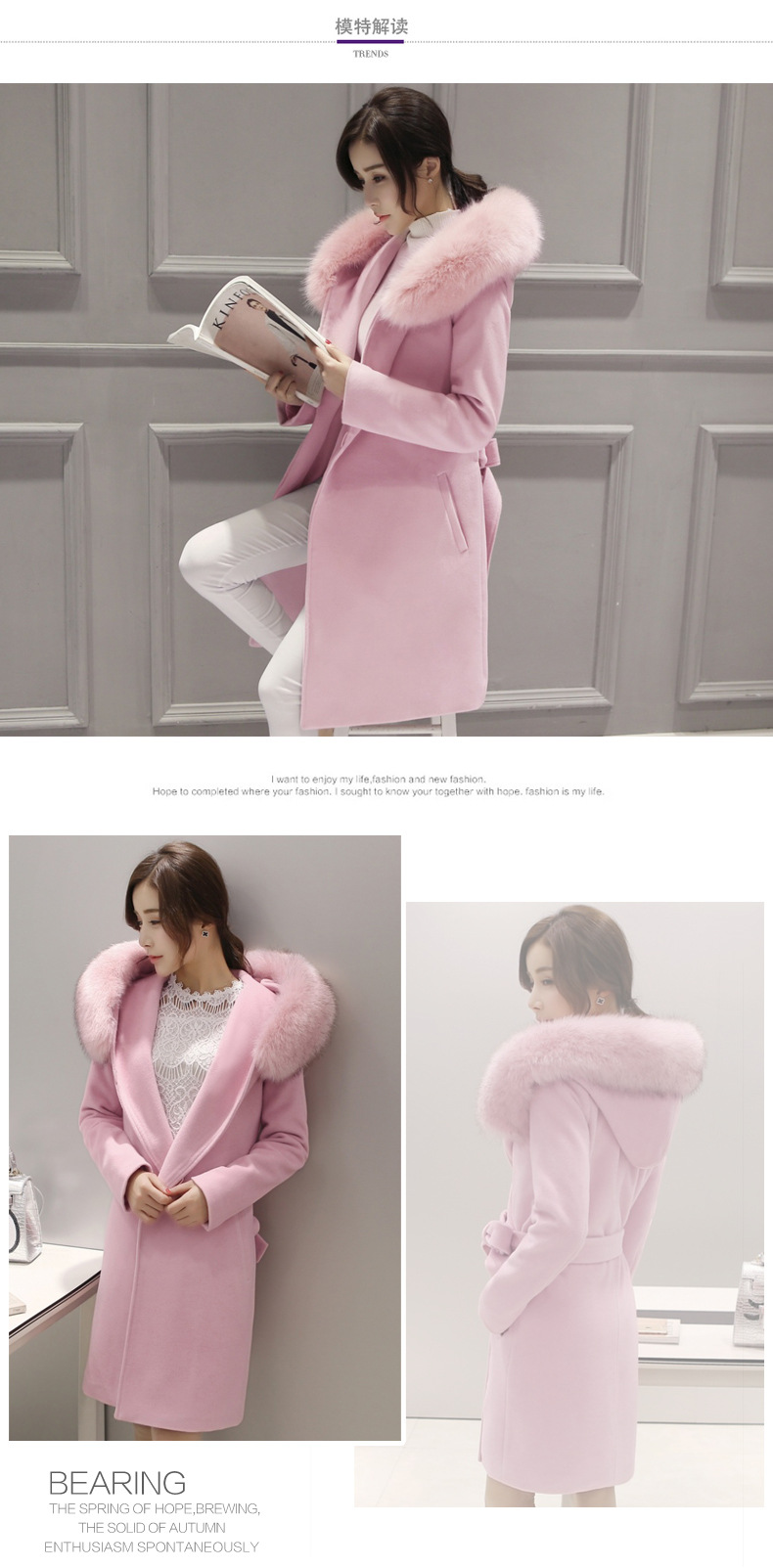 Winter woman in red long section of pink wool coat fur collar Slim large size high quality Cotton clothing Fur Hooded Jacket