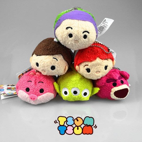 Free Shipping TSUM TSUM Plush Toys Toy story Buzz Lightyear Sangan Mini Cute toy 9cm Phone Accessories Screen Wipe dolls Pendant(China (Mainland))
