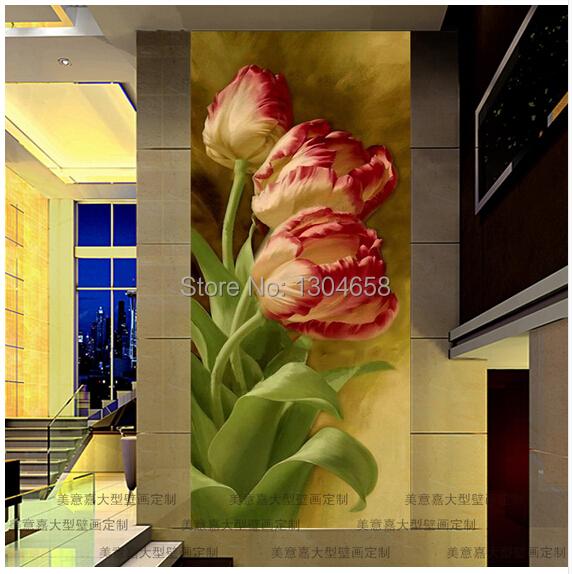 Роспись на стене тюльпаны