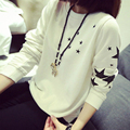 Bottoming Shirt Print Star Women S Clothes Long Sleeve Sweet Pullover O Neck Casual Kpop Sweatshirt