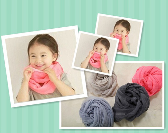 18 Colors Girls and Boys Plain Solid Infinity Scarf Viscose Cotton Baby Kids Loop Scarves Neck Warmer Shawl Free Shipping(China (Mainland))