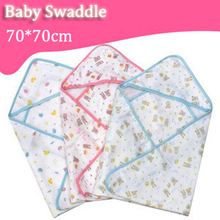 Hot Baby 70*70 Swaddle Wrap Soft Cozy Envelope For Newborn Baby Blanket Swaddle Carters Cotton Gauze Sleeping Bag Infant Bedding(China (Mainland))