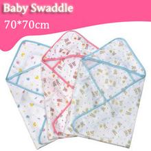 Hot Baby 70*70 Swaddle Wrap Soft Cozy Envelope For Newborn Baby Blanket Swaddle Carters Cotton Gauze Sleeping Bag Infant Bedding(China (Mainland))