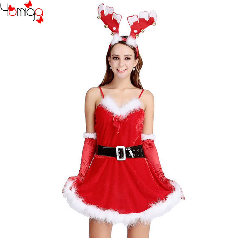 New Fashion Strap Miss Santa Claus Costume Dress New Year Party Reindeer Costumes Outfit Cos Play Sexy Christmas Costumes Women(China (Mainland))