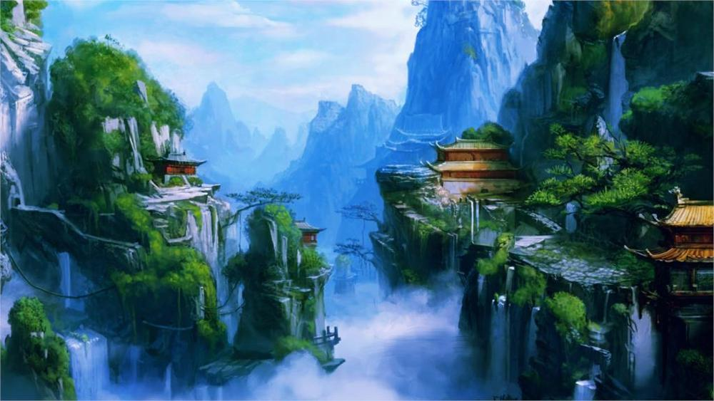 fantasy art <font><b>asian</b></font> oriental buildings castles mountains waterfalls rivers fog spray 4 Sizes <font><b>Home</b></font> <font><b>Decor</b></font> Canvas Poster Print