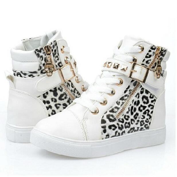 Brand Fashion Women PU Sneakers High Top Women's Spring Autumn Leopard Flower Print Rivet Canvas Flat Shoes 35-40 30122(China (Mainland))