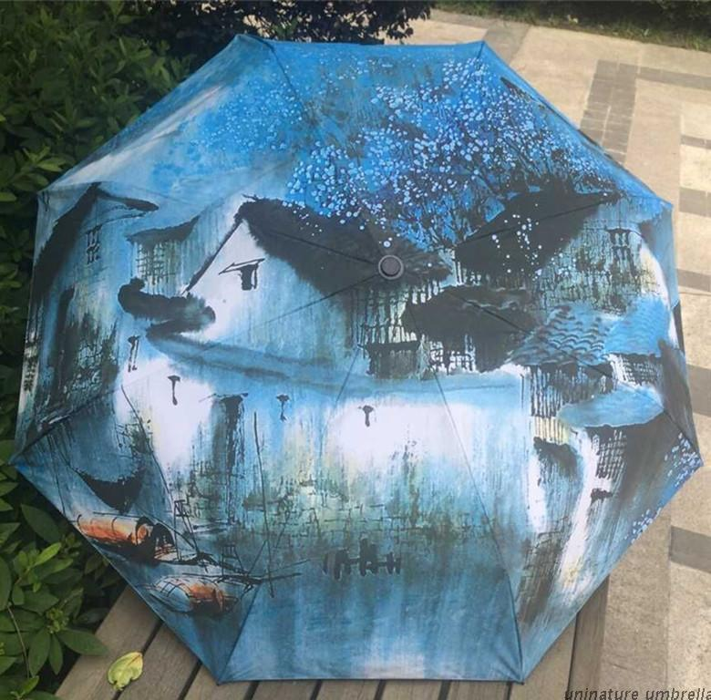 Oil Painting Umbrella Chinese Classic Vintage Landscape Fancy Umbrella 3 Folding UV umbrella for Women(China (Mainland))