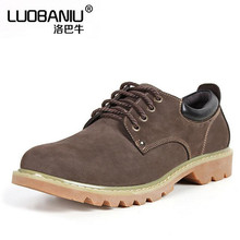 Men's casual shoes Yellow, brown Genuine Leather thick bottom lace-up Anti-skid Flats shoes XL Size 44 45 yeezy obuv boty(China (Mainland))