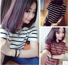 2015 Women Summer Cotton Loose Simple All Match Basic O-neck T-shirt Striped Tee Black White(China (Mainland))