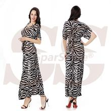 2016 Fashion Deep V Neck Maxi Dress Women Summer Boho Halter Evening Party Beach Elegant Long Dresses 6Xl Zebra Stripes Print(China (Mainland))